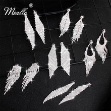 Miallo 2019 New Austrian Crystal Tassel Wedding Earrings Bridal Women Drop for Bride Bridesmaids Jewelry Gifts