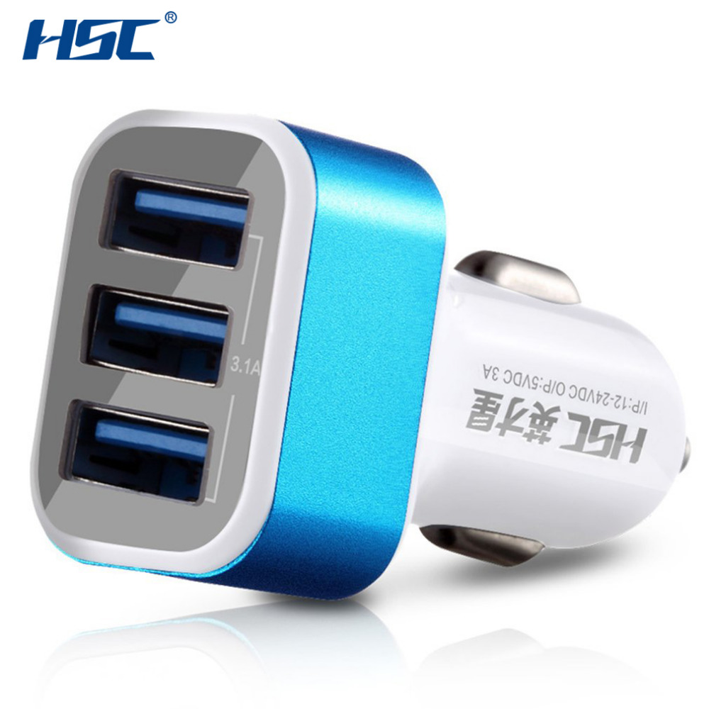 HSC HSC 300 Professional 3 USB Ports 3 1A Quick Charging Car Charger Intelligent Cooling Charger