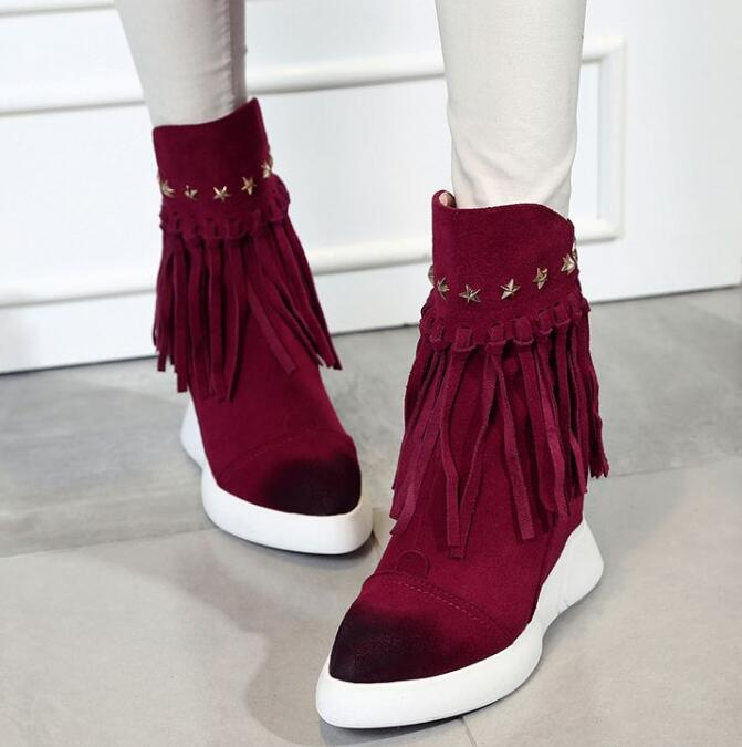 Women Winter Full Grain Leather Flock Rivets Tassel Height Increase Elevator Fashion Warm Ankle Boots Size 34-39 SXQ1012