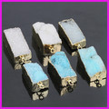 5PCS China Wholesale Square Shape 24K Gold Jewelry,Blue/White Crystal Druzy Gem Stone Charm Nugget Drusy Pendant For Necklace