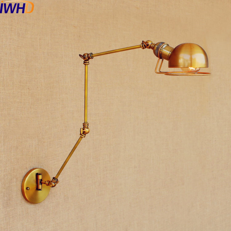 Lámpara De Pared Vintage De brazo largo De cobre dorado IWHD lámpara De Pared LED Edison Retro Loft Industrial lámpara De Pared lámparas De Pared