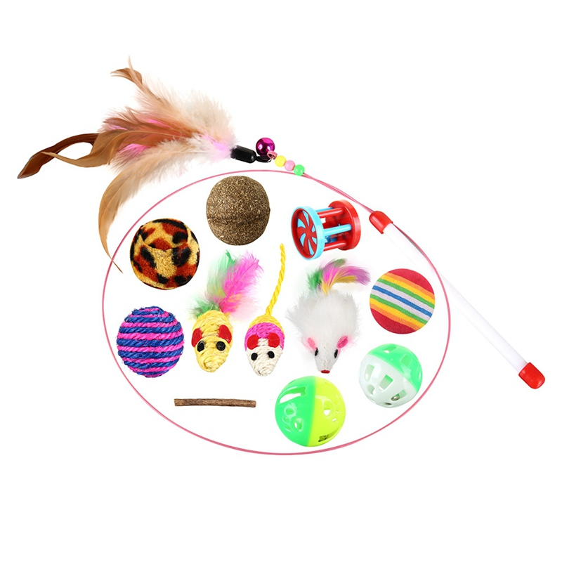 12 pcs Pet Cat toy Set Feather Teaser Wand Catnip Toys Ball Rings cats interactive Products Mini Playing Mouse Toys