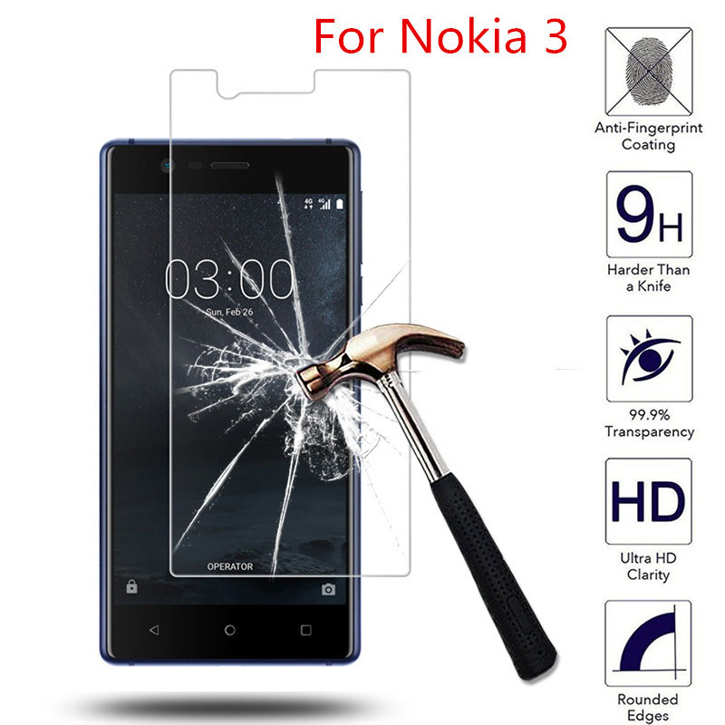 For Nokia 3 Dual SIM 5.0 2.5D HD Tempered Glass Screen Protector For Nokia 3 nokia3 5.0inch Phone Protective Guard Films Case