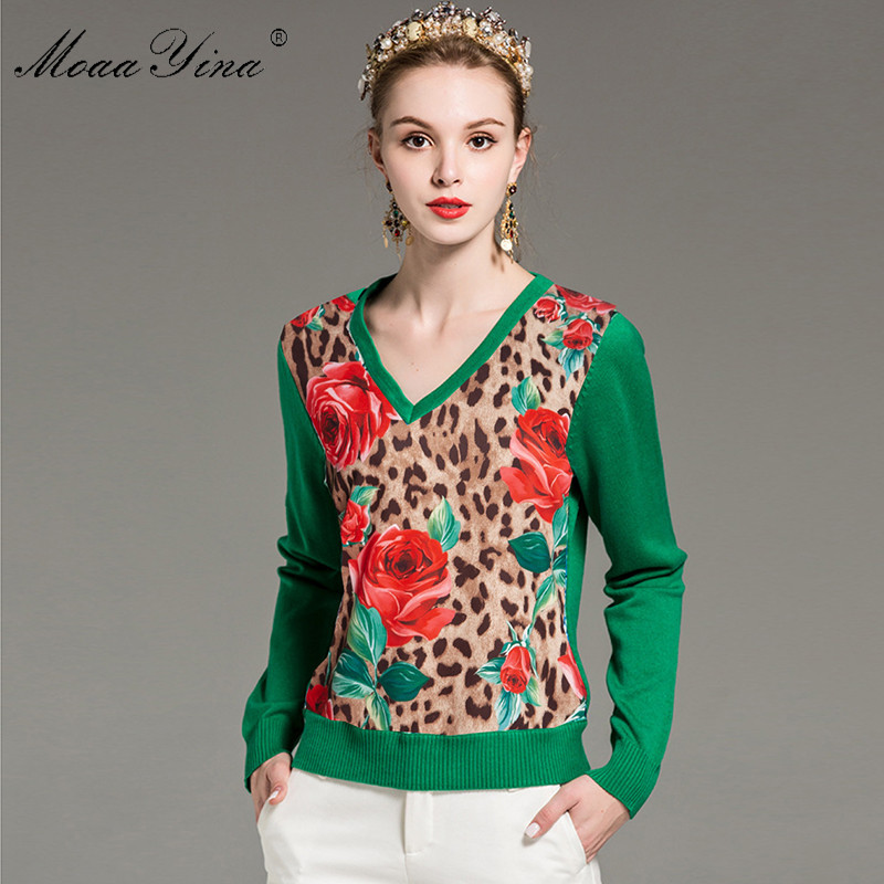 MoaaYina Fashion Knitting Pullovers Sweater Spring Women Long sleeve Rose Floral Leopard Casual Knitting Sweater Plus