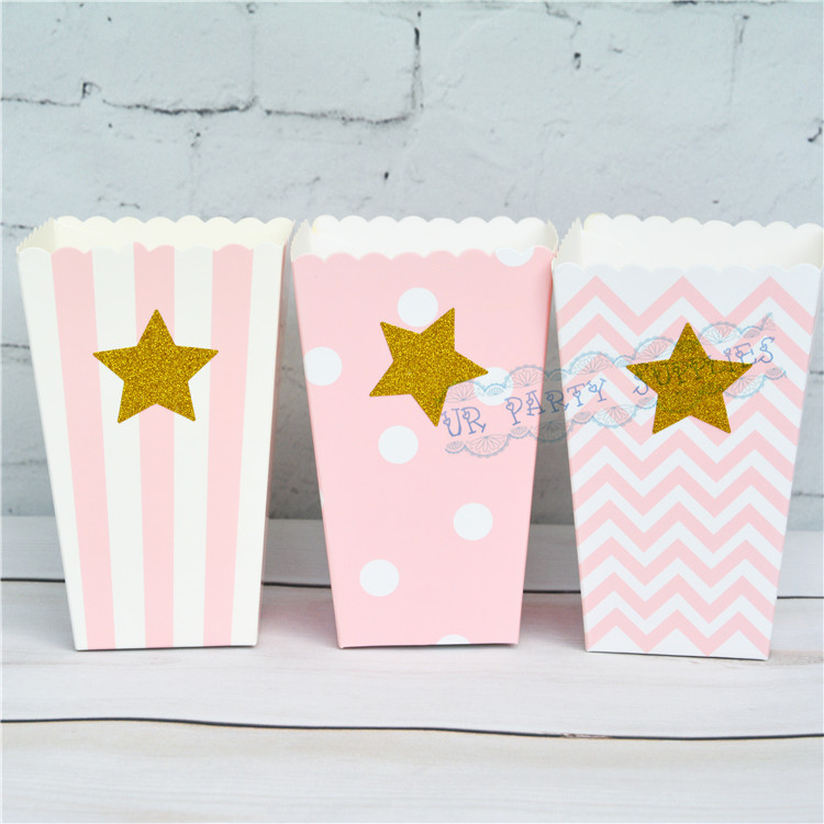 120pcslot pink popcorn boxes with glitter star mini candy box small snack case birthday