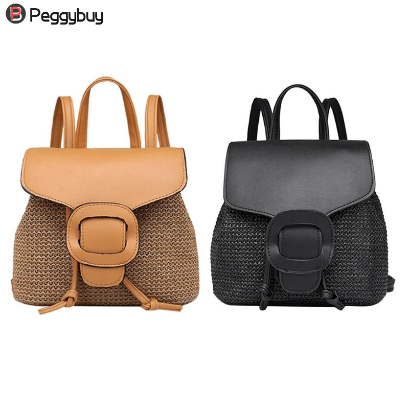 2018 New Women Backpack Vintage Woven Shoulder Bag Women Girls Drawstring Schoolbag Bag Ladies Summer Crossbody Messenger Bags