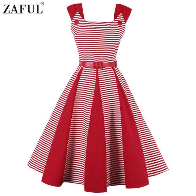 ZAFUL Mujeres Vestido Rayado Rojo de La Vendimia Pin Up de los ...