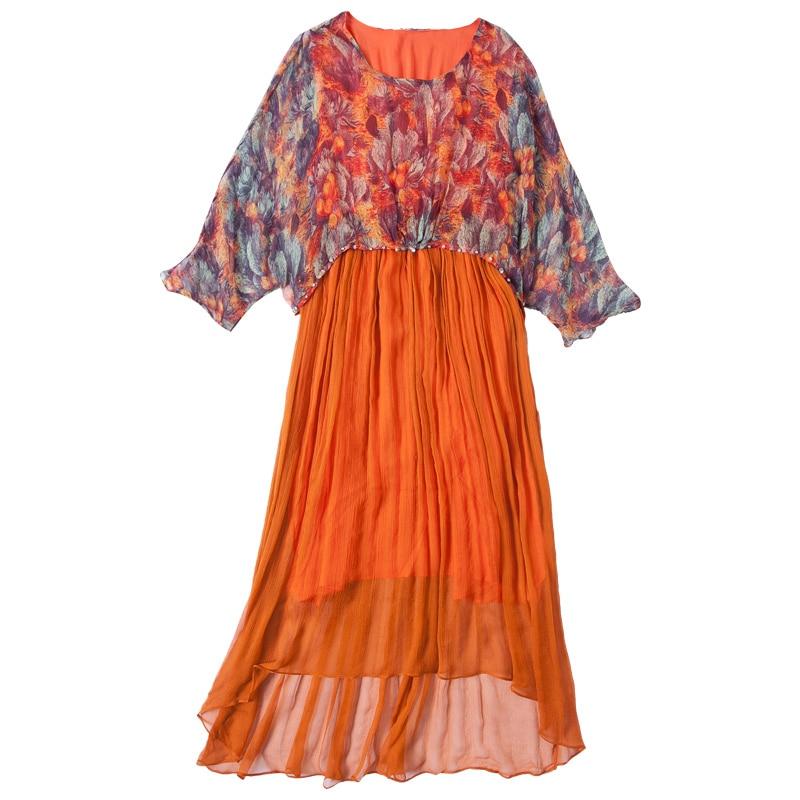 Plage D'été Maxi 2019 Tcyeek Orange Lwl1492 Longues Robe Parti Robes Femmes Imprimer Printemps Élégant Mujer Soie UvUPR
