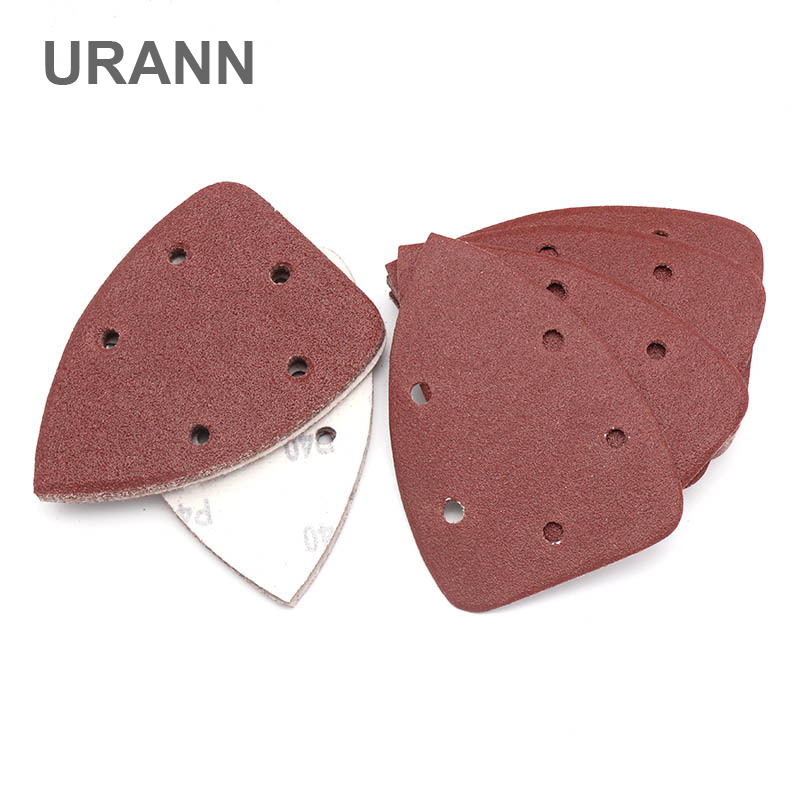 URANN 10pcs 140X90mm Triangle Sandpaper Five Hole Disk Sand Sheets Grit 40-400 Hook And Loop Sanding Disc Polishing Tool