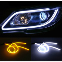 2pcs 30cm DRL DIY White Amber Flexible Strip Turn Signal Tube Angel Eye Daytime Running Headlight