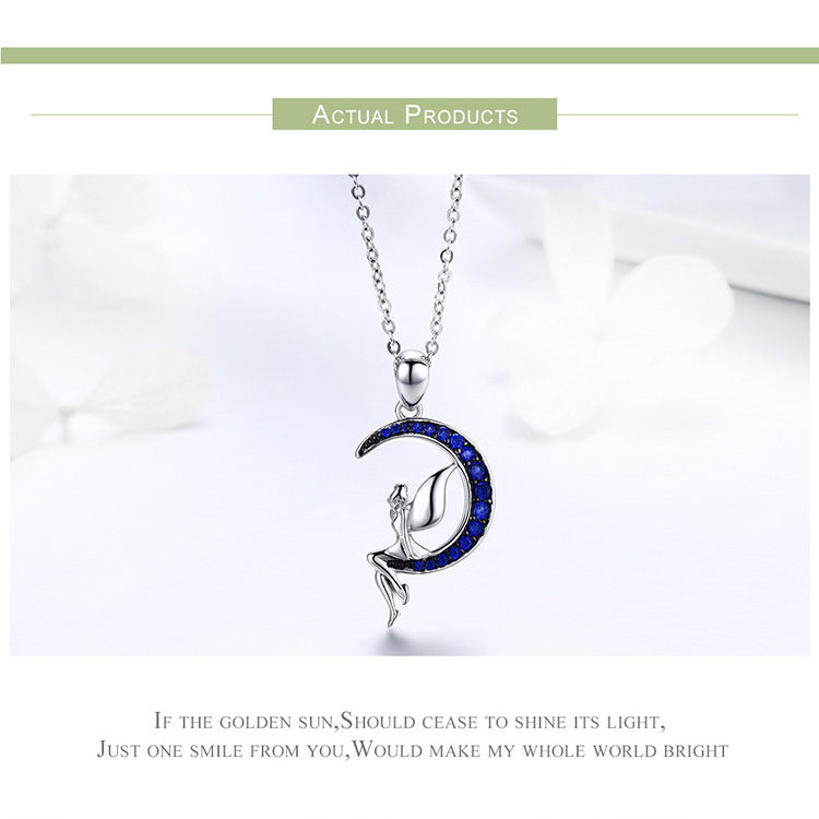 HTB1QMDepL9TBuNjy0Fcq6zeiFXaJ BAMOER Hot Sale 100% 925 Sterling Silver Lucky Fairy in Blue Moon Pendant Necklaces Women Sterling Silver Jewelry Gift SCN244