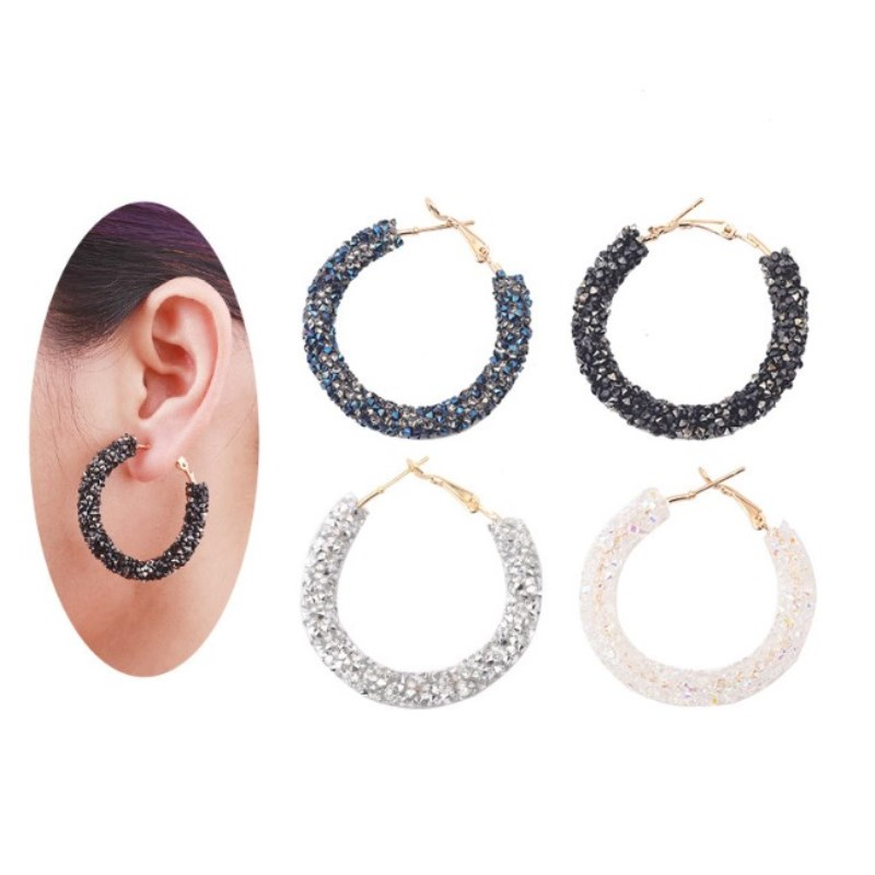 2019 Fashion jewelry New round tube earrings Creative OL style Crystal from Swarovski 4 Colors Fit Women Party2019 Fashion jewelry New round tube earrings Creative OL style Crystal from Swarovski 4 Colors Fit Women Party