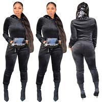 Sequin Pocket Crop Top and Pants 2 Piece Set Women Casual Tracksuit Velvet Hooded Set Autumn Glitter Two Piece Trousers Sets