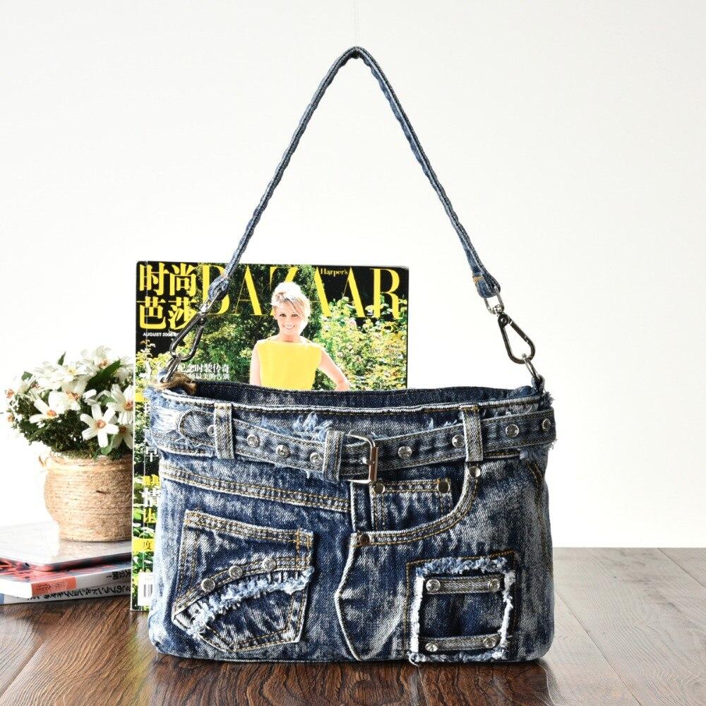 KISS KAREN Diamond Studs Denim Bag Bag Կանանց - Պայուսակներ - Լուսանկար 5