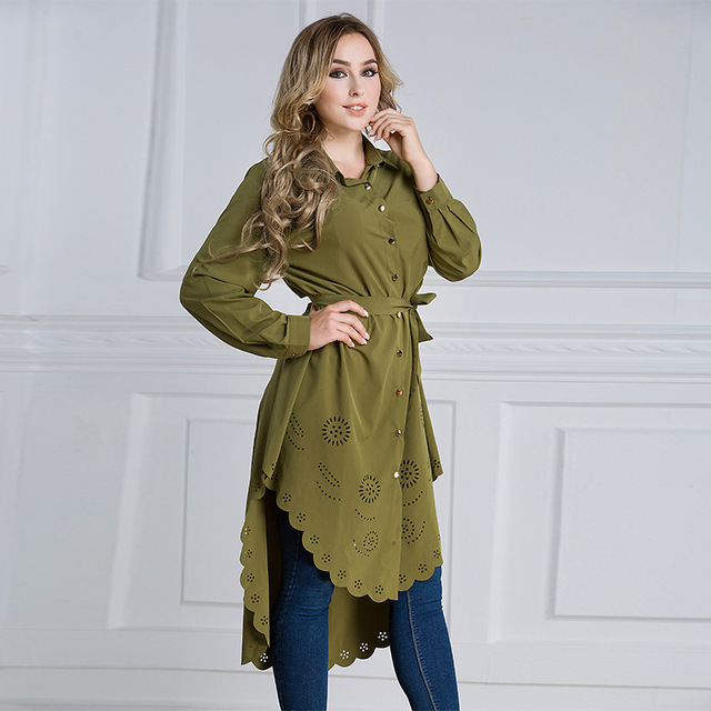 41ce49db76b Muslim Hollow Plus Size M-6XL Women Long Shirt Blouse Islamism girl s top  casual chiffon shirt long sleeve with belt 2018