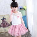 2016 Girl Kids Summer Clothes New Sweet Girls Suit For Children Two Sets Dress Fashion Short Pullover Children's