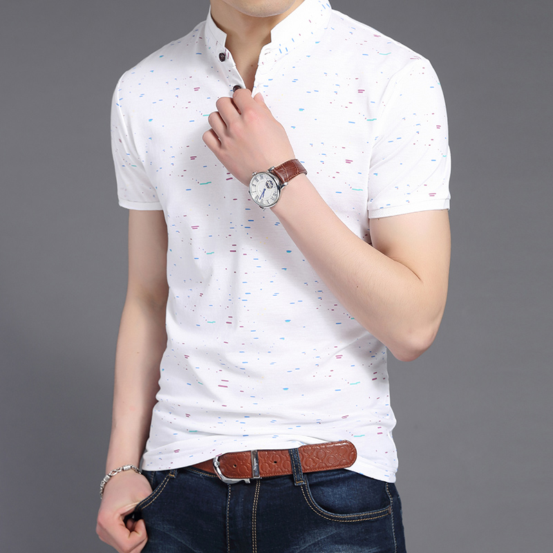 2019 New Fashions Brand Clothing   Polo   Shirt Men's Summer Print Slim Fit Short Sleeve Mandarin Collar   Polos   Casual Mens Clothing
