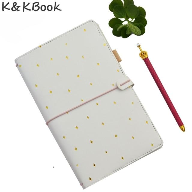 KKBook Lindo Cuero Viajeros Notebook Portátil Diario Viajero Punteada Cuadernos Planificador Diario Papelería Papelaria