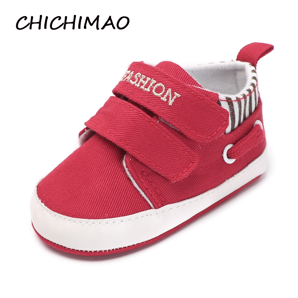 2018-baby-fashion Shoes New Born Boy Girl Solid Sole Anti-slip Soft Canvas Toddler Crib Sneakers Spring/Autumn ...