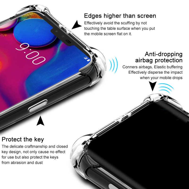Cherie Tahan Guncangan Case untuk LG V40 V30 V20 V50 Thinq K8 K10 2017 2018 Cover Lembut TPU Transparan Case untuk LG G7 G6 Plus Q6 K50 Q9