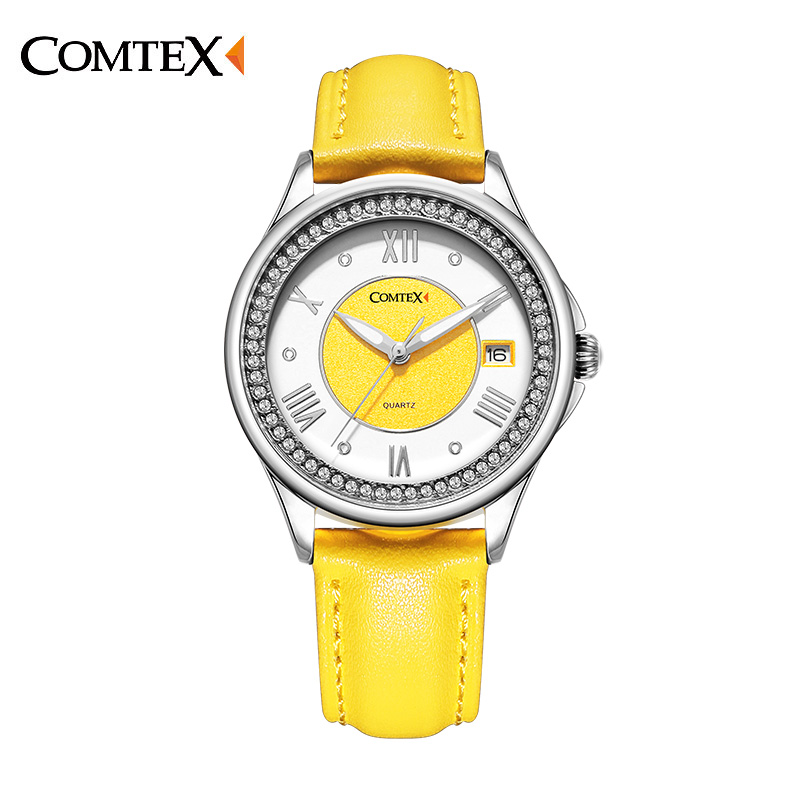 Comtex Ladies Watch Spring Casual Yellow Leather Women Wristwatch for Girl New Fashion Quartz Calendar Watches
