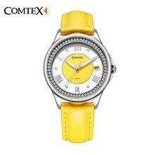 Comtex Ladies Watch Casual Primavera de Cuero Amarillo Mujeres Reloj para Chica Nueva Moda de Cuarzo Calendario Relojes reloj reloj de Regalo