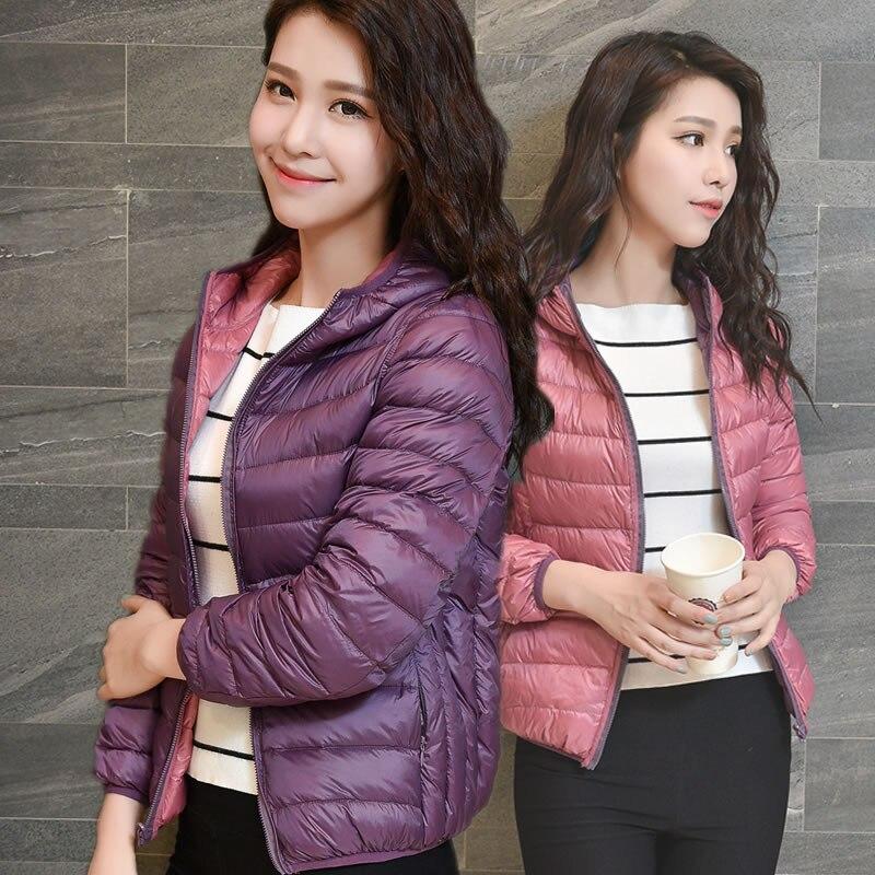 2018 New Women Ultra Light 90% White   Down   Jackets Two Side Wear   Down     Coat   with Hood Reversible Winter Parka