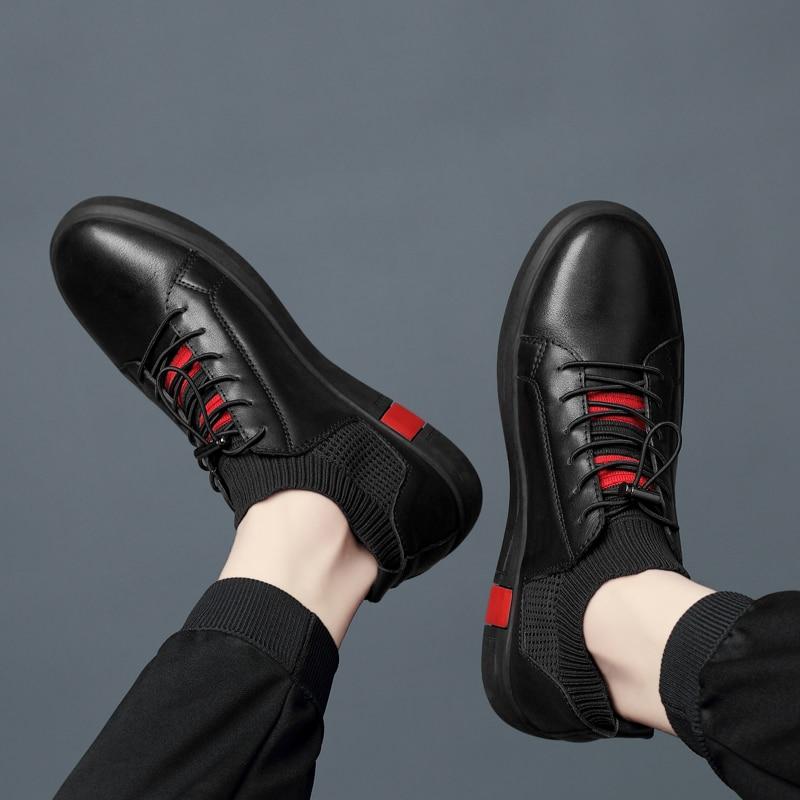 Hombre White Casuais Sapatos top Moda De Tênis Suave Masculino Alta black Adulto Zapatos Mocassins Homens Couro Cyytl Calçados Brancos TvZqq1x