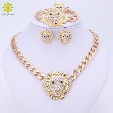 2017 Dubai African Gold Color Jewelry Women Vintage Lion Head Necklace Bracelet Earrings Rings Set Fashion Crystal Jewelry Sets