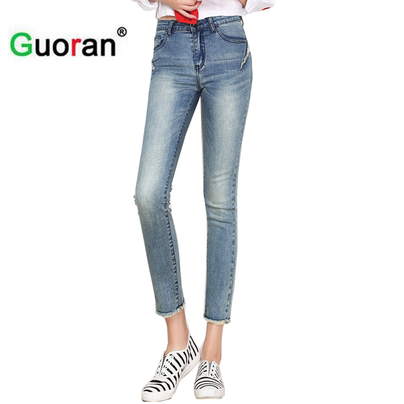 {Guoran} Women capri jeans pencil pants with high waist 2017 summer ankel length skinny jeans leggings femme plus size 26-33
