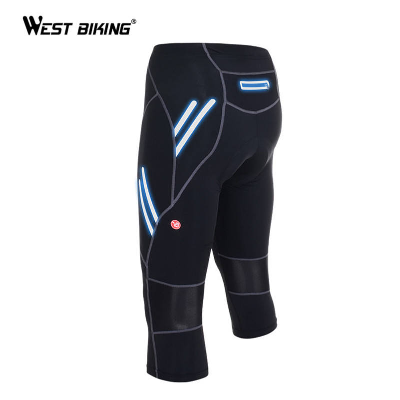 WEST BIKING Mens Cycle Pant Bicycle Bike Tights Riding Bike Outdoor Sport Reflective Long Trousers High Elastic Cycling Pant