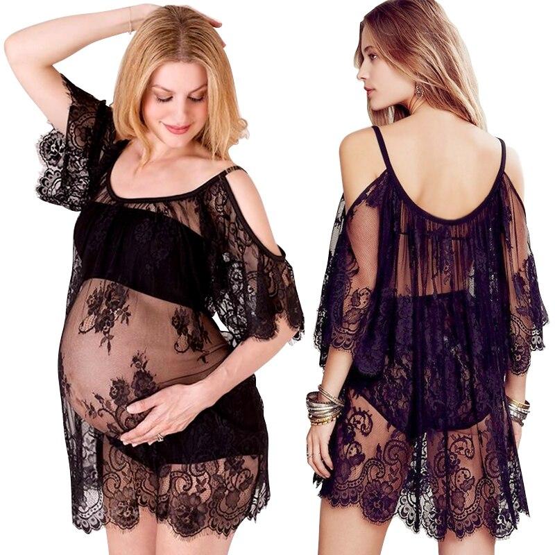 Vit Svart Flödande Moderskap Fotografi Props Sexiga Lace Kjolar Mode Graviditet Klänning Foto Skydda Moderskap Klänning Fotografi