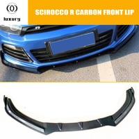 Scirocco Carbon Fiber Front Bumper Lip Chin Spoiler for Scirocco R R20 2009 2014 Auto Racing Car Front bumper Lip Diffuser