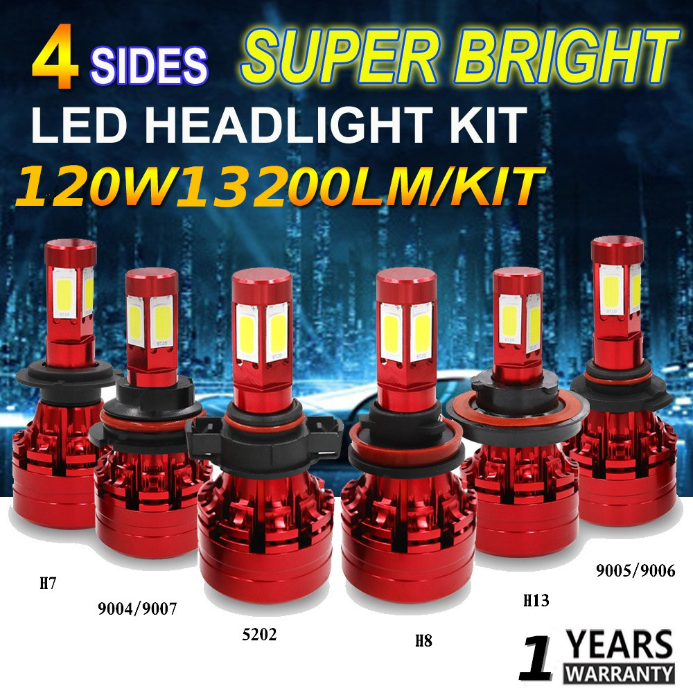 LED Headlight Kit 120W Super Bright 4-Sides White H4/HB2/9003 11/8/9 H13 9004/HB1 9005/HB3 9006/HB4 9007/HB5 H16 5202 Car Bulb