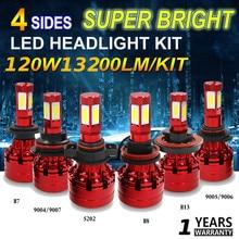 цена на LED Headlight Kit 120W Super Bright 4-Sides White H4/HB2/9003 11/8/9 H13 9004/HB1 9005/HB3 9006/HB4 9007/HB5 H16 5202 Car Bulb