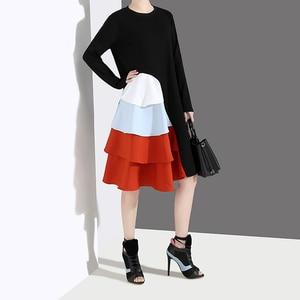 Image 2 - Robe automne à manches longues, Style coréen, noir pour Femme, à volants en cascade, Patchwork, 2020, décontracté