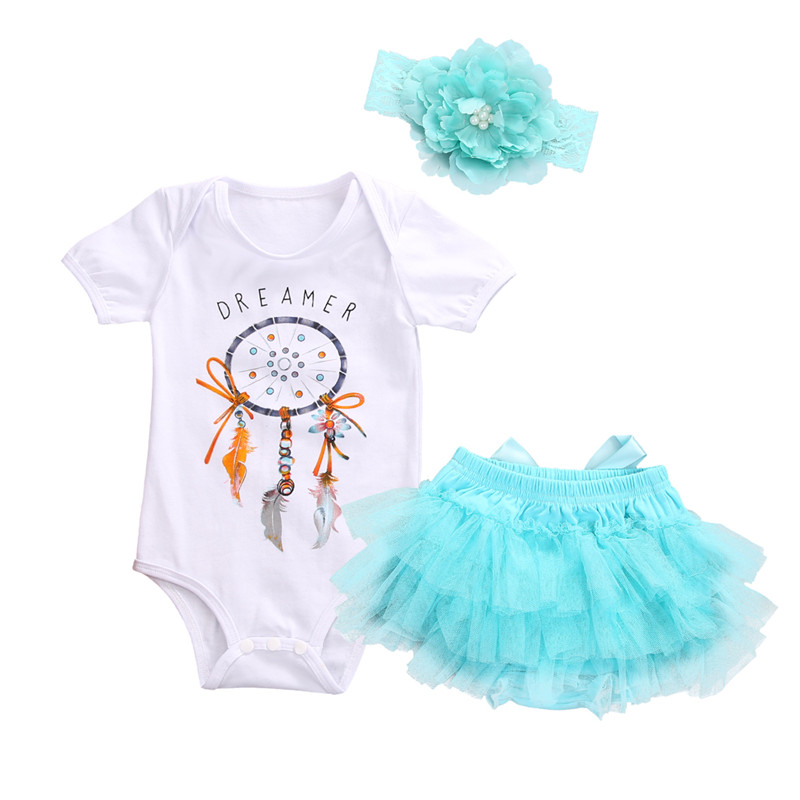 2017 Summer 3PCS Newborn Infant Baby Girl Short Sleeve Romper Jumpsuit Tutu Skirt Headband Outfit Clothes Set