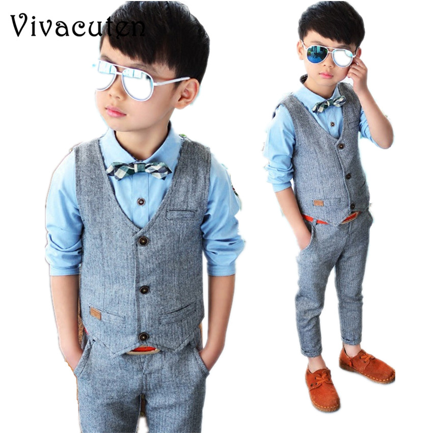 New Children Suit Baby Boys Suits Kids Handsome Vest Shirt Pants Formal Birthday Dress Suit Gentleman Weddings Clothes Set F054