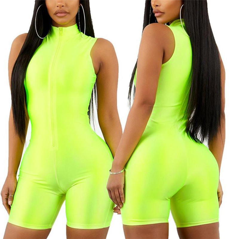 Women playsuit solid Fluorescence skinny bodysuit 2019 spring summer sleeveless sexy v neck zipper fly short outfit romper in Rompers from Women 39 s Clothing