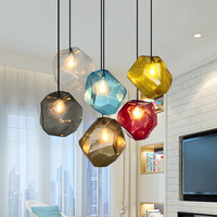 Simple Stone glass pendant light colorful indoor G4 LED lamp The restaurant dining room bar cafe shop lighting Fixture AC110 265