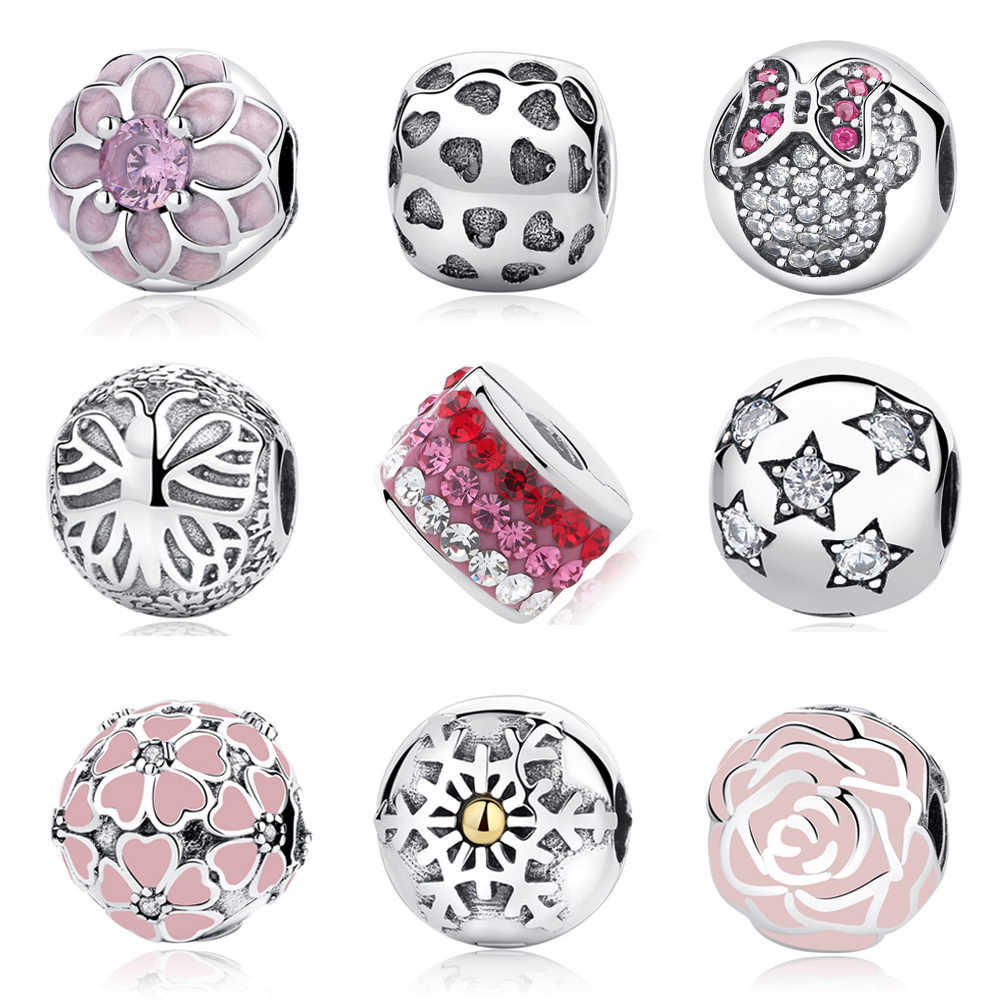 bb1983c95 100% S925 Sterling Silver Bead Flower Star Austria Crystal Safety Clip  Stopper Charms Fit Pandora