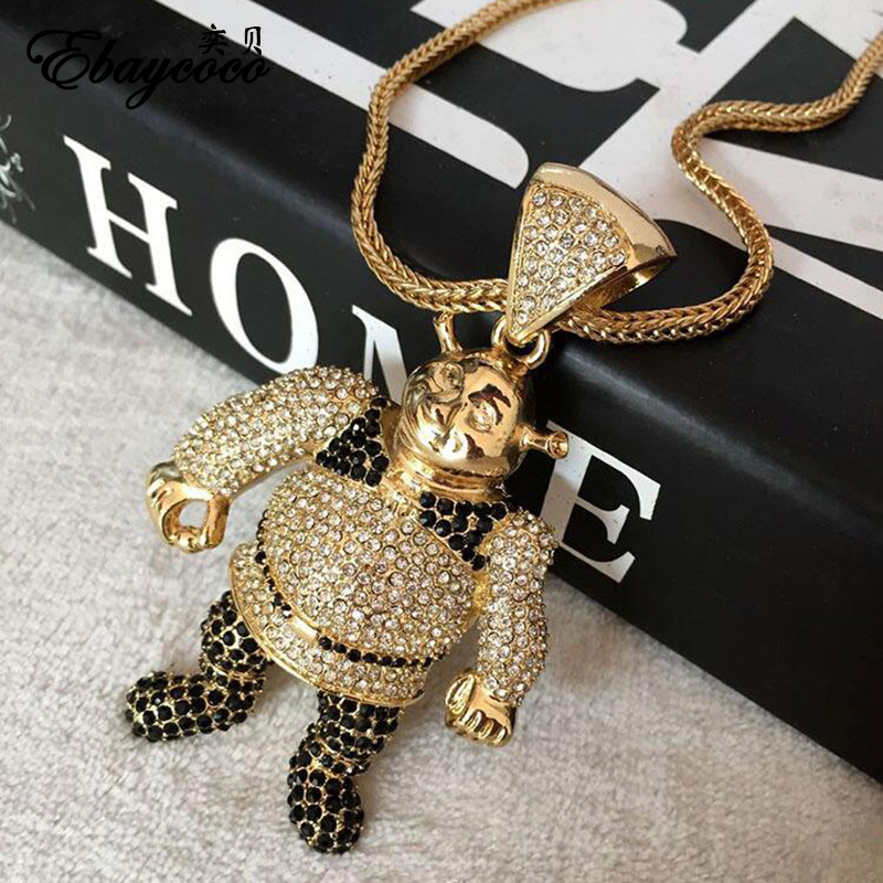 EBAYCOCO New Fashion Iced Out Gold Pendant with Golden Chain Hot Bling-Bling Zinc Alloy Street Dance Boy Necklace цена