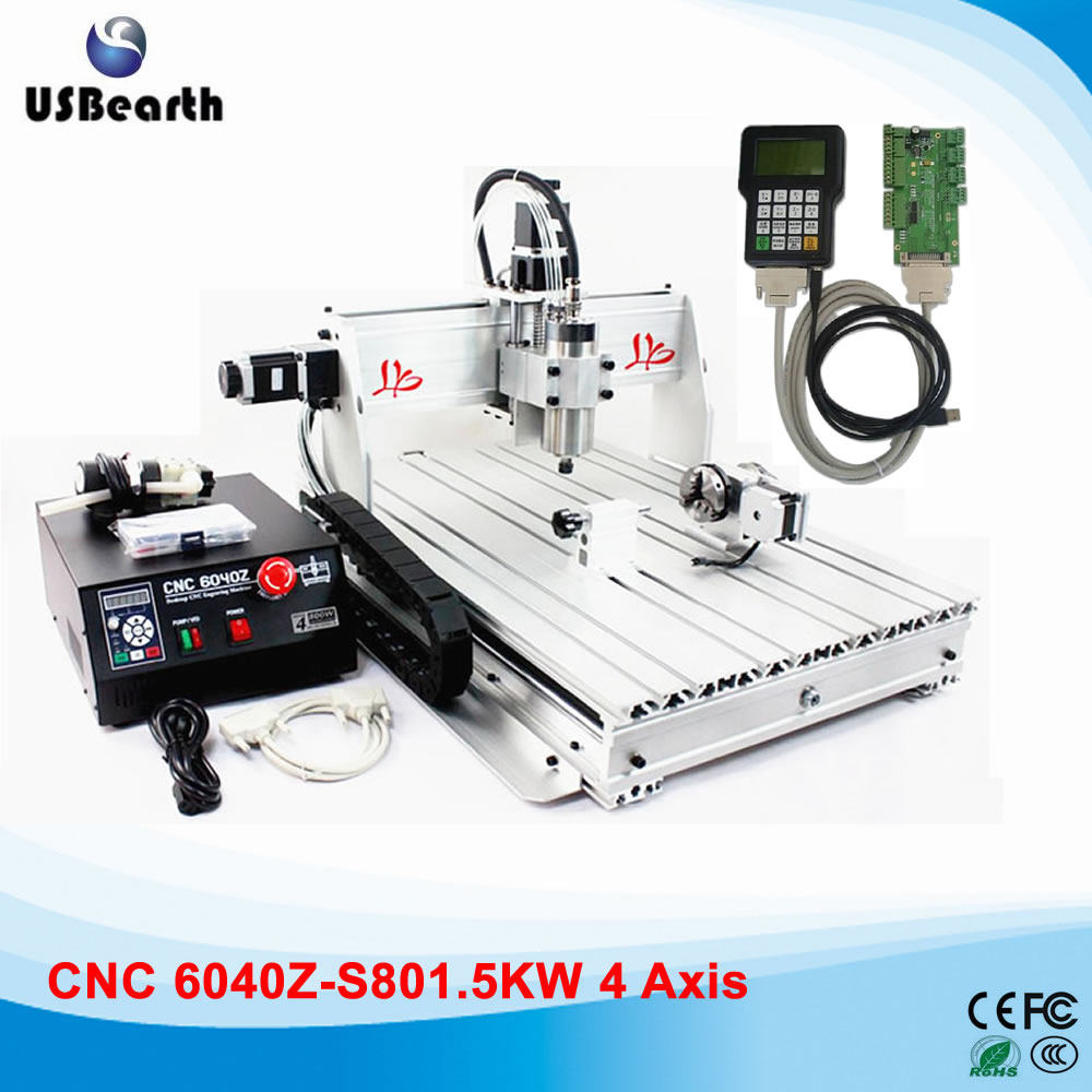4 axis engraving machine CNC6040 1.5KW spindle Metal Carving Machine with DSP0501 controller for metal wood, No tax to Russia cnc milling machine 4 axis cnc router 6040 with 1 5kw spindle usb port cnc 3d engraving machine for wood metal