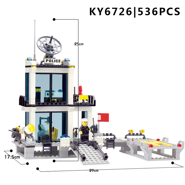 536pcs Building Blocks Police Station Prison Figures Compatible Legoing City Enlighten Bricks Toys For Children Truck Helicopter