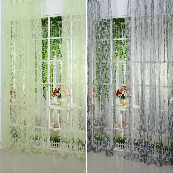 Leaf Type Tulle Voile Door Window Curtain Drape Panel