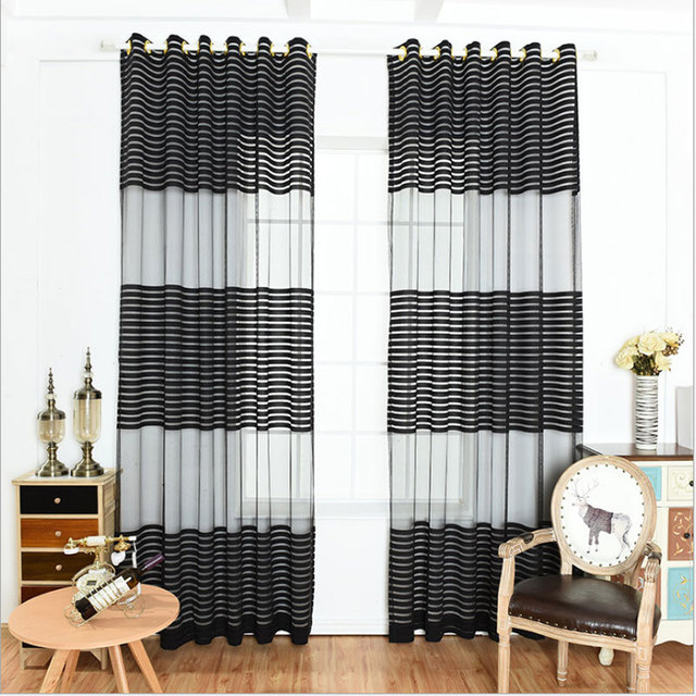 Aliexpress.com : Buy Elegant Black White Polyester Cloth Modern Simple  Striped Bedroom Sheer Window Curtains for Living Room Tulle Curtain from ...