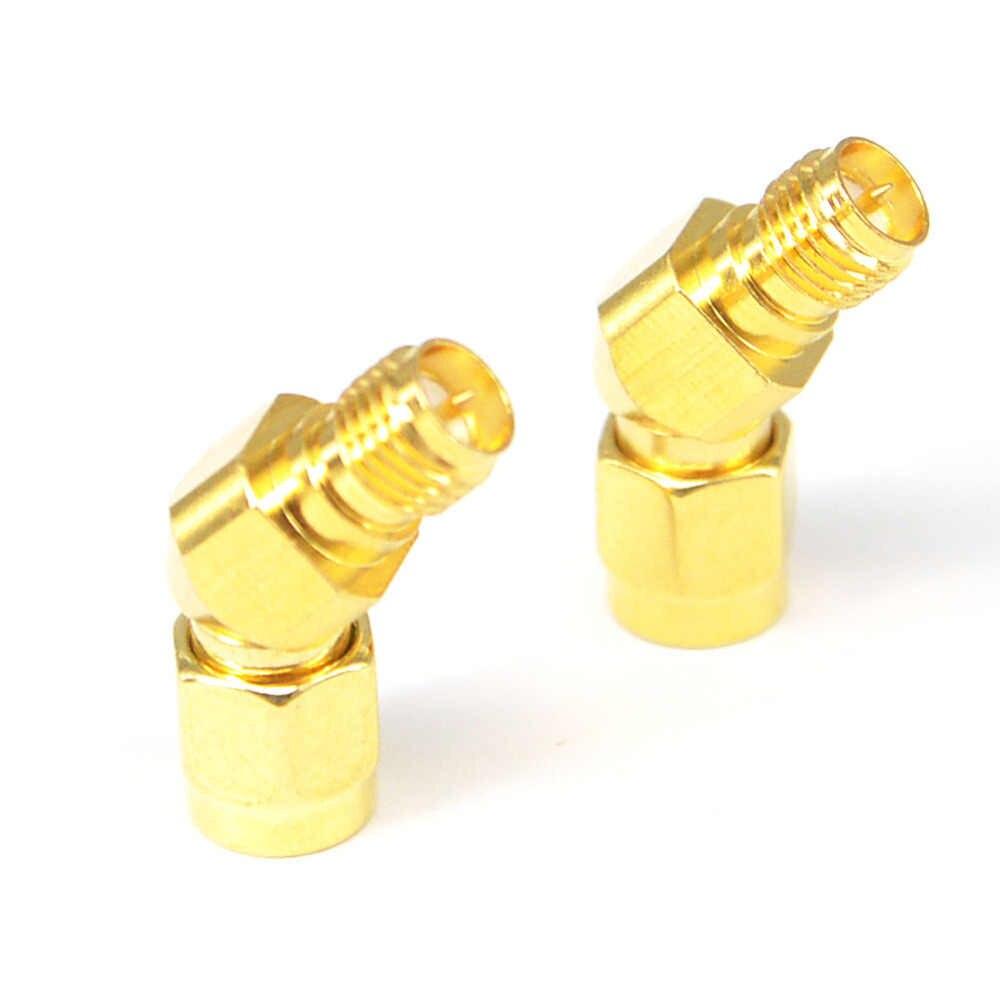 2 piezas SMA RP SMA conector Adpater de antena de 45 grados para FPV RX5808 conector enchapado en oro