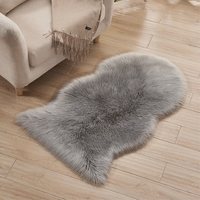 RAYUAN Grey Special shaped Sheepskin Hairy Carpet Faux Mat Seat Pad Fur Plain Fluffy Soft Area Rug Tapetes 60x102CM