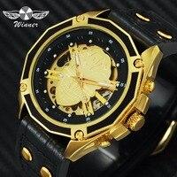 승자 공식 브랜드 해골 시계 남자 자동 기계 해골 시계 럭셔리 힙합 스타일 가죽 크리 에이 티브 손목 시계
