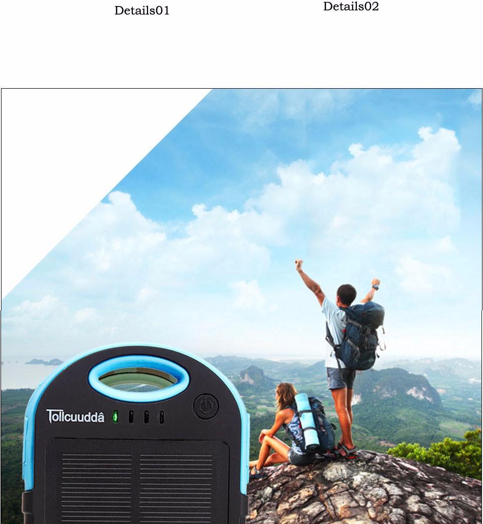 Tollcuudda Solar Panel Power Bank 100mAH Battery External Celular Charger Cargador For Xiao Mi universal Phone Solar PoverBank 26